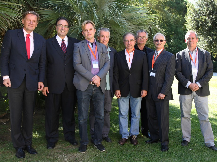 "(f.l.t.r.): Prof. Dr. Stephan Willich, Dr. Ghassan Andraos, Associate Prof. Dr. Torkel Falkenberg, Dr. Franceso Cardini, Prof. Dr. Gustav Dobos, Prof. Dr. Michael Heinrich, Dr. Daniel Furst und Dr. Erik Baars after the presentation of the ""Excellence in Integrative Medicine Research Award"" in Florence. Italy."