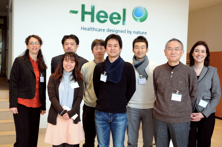 The Japanese vets with organizer Shinichiro Kudo (2nd from left) were welcomed by Heel staff members Céline Staudenmeier and Celia Pineda (at each end) of the Distributor Business department. Source: Biologische Heilmittel Heel GmbH